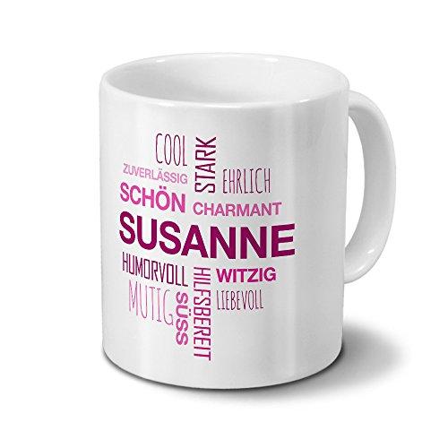 printplanet Tasse mit Namen Susanne Positive Eigenschaften Tagcloud - Pink - Namenstasse, Kaffeebecher, Mug, Becher, Kaffeetasse
