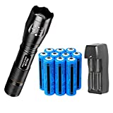 Super Bright 2000 Lumen 18650 Tac Flashlight and 10PCS 3.7V High Capacity Rechargeable Battery+Batteries Charger,Zoomable, Water Resistant, 5 Modes Handheld Light