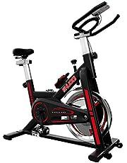 SHUOQI Oefening Fiets Voor Thuis, Indoor Fietsen Spinning Bike, Studio Kwaliteit met Magnetische Weerstand, Grote Bidirectionele Vliegwiel, Stationaire Riem Drive, Verstelbare Stoel, LCD Display