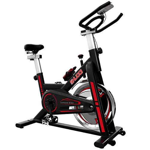 SHUOQI Bicicletas Estaticas Spinning, Bici Indoor, Volante De Inercia De 15 Kg, Adecuado para Principiantes De Menos De 183 cm / 130 kg 🔥