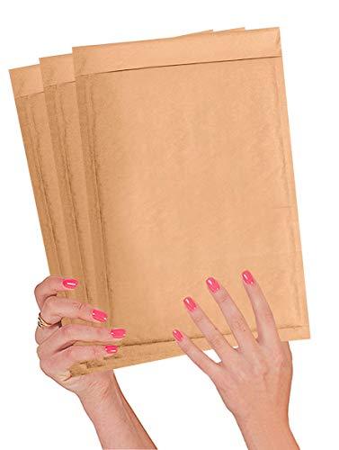 Paquete de 25 sobres acolchados de papel kraft 7,25 x 11 sobres de burbujas de 7 1/4 x 11 sobres de burbujas naturales Peel and Seal. Cojín marrón de envío, correo, sobres de embalaje.