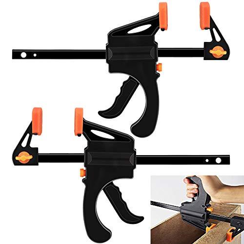 AFASOES 2 Stück Schnellspannzwingen Spannweite 150 mm Einhandzwingenset 6 Zolleinhandzwinge Schraubzwingen Stahl & PP Rohrzwinge Einhandzwingen Spanner Set für Präzises Fixieren (Spannkraft:60kg)