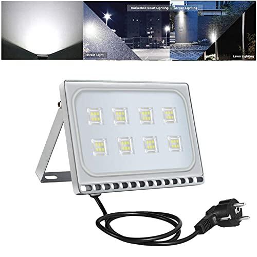 Foco LED de 50 W con enchufe de la UE, para exteriores, luz blanca fría, 6000 K, foco de construcción, foco impermeable IP65, lámpara de pared para jardín, garaje, campo deportivo