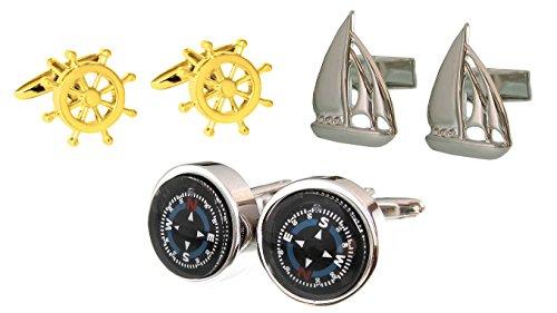 Unbekannt 3 Paare: Maritime Manschettenknöpfe: Kompass, Steuerrad + Schiff inkl. Geschenkbox