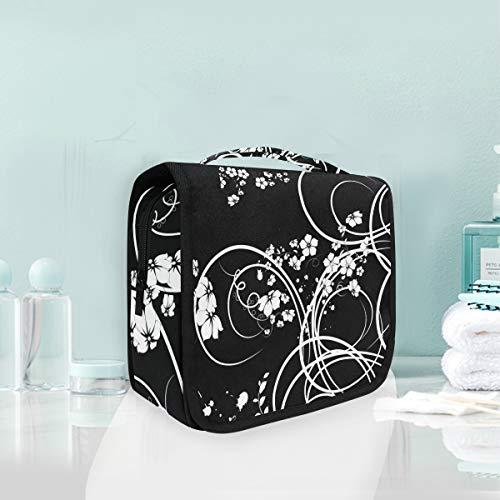 Trousse de maquillage de maquillage Art Noir Blanc Motif de fleur élégante Trousse de toilette de voyage portable