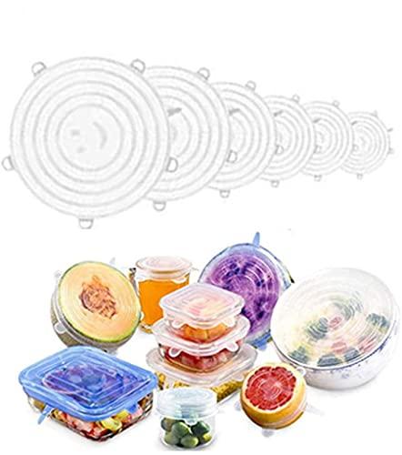 Tapas de silicona elásticas para tapas de alimentos reutilizables Tapas, cuencos, lavavajillas, refrigerador, microondas, horno, 6 paquetes de tapas de alimentos de silicona de varios tamaños