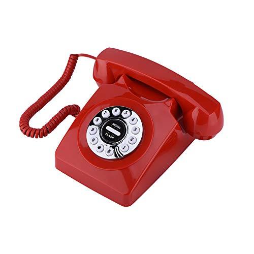 Sutinna Teléfono Antiguo Vintage, Estilo Occidental Números de teléfono Retro Vintage Almacenamiento Sonido Claro Teléfono con cancelación de Ruido Teléfono con Cable para teléfono residencial(Rojo)