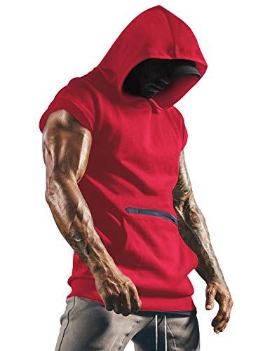 Herren Tank Top Tanktop Tankshirt Ärmellos Bodybuilding Shirt Unterhemd T-Shirt Tshirt Tee Muskelshirt Achselshirt Trägershirt Ärmellose Training Sport Fitness Rot L