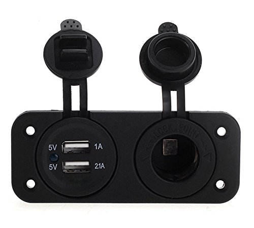 Carviya Prise allume-cigare 12 V pour moto, voiture, camion, véhicule avec double adaptateur USB
