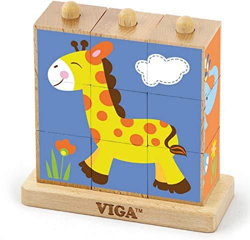 VIGA VIGA 50834 Toys 50834 Puzle de Cubo apilable (Animales Salvajes, 9 Piezas), Multicolor (50834)