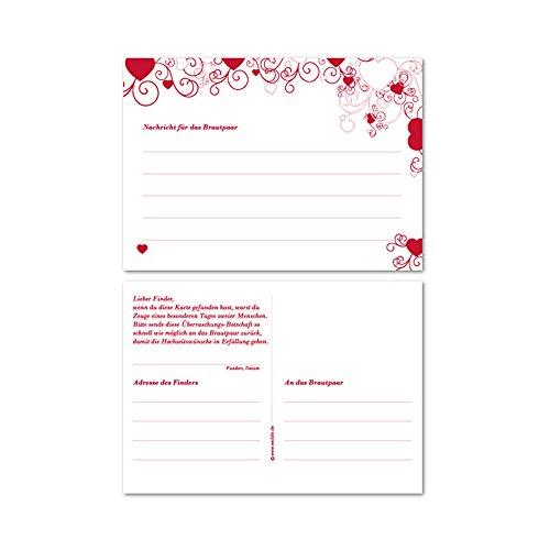 50 Ballonkarten Love is in The Air für den Ballonstart bei der Hochzeit, Ballonflugkarten in Rot mit Herzen, 50 Stück Set