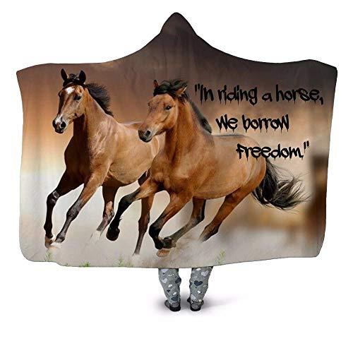 Manta de muletón con capucha para caballo de carrera, color marrón, doble cara, manta de felpa gris, suave, lujosa, cómoda para todas las estaciones, 150 x 130 cm