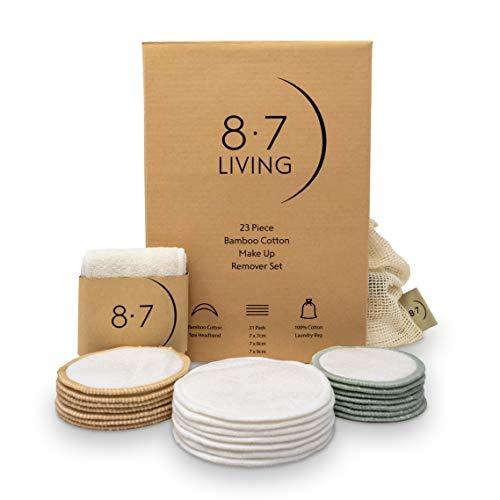 8.7 LIVING 23PC Wiederverwendbare MakeUp-Entferner-Pads aus Bambus-Baumwolle   Bambus Spa Makeup Stirnband +21 Ultra Soft Bambus Makeup Entferner Pads + Baumwolle Washbag  
