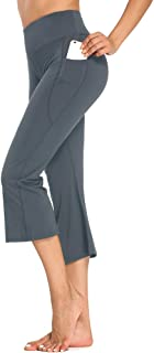 Sobrisah Women's Yoga Flare Capris Pants Casual Loose Workout Jogging Lounge Pants with Pockets