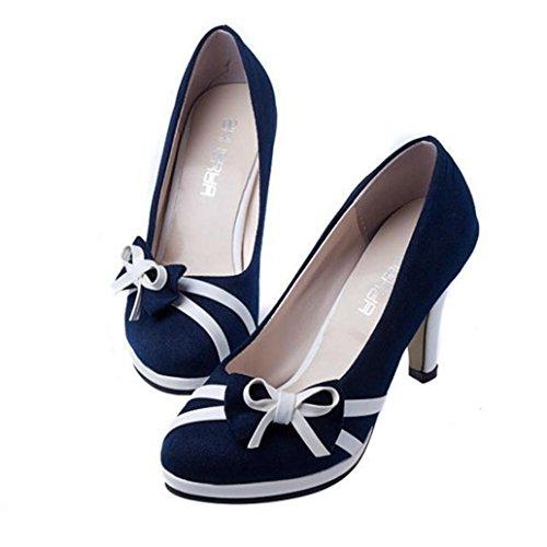 OYSOHE Damen Pumps, Sommer Damen Mode Runde Zehe Elegant Rockabilly Schuhe Bowknot Shallow High Heels Stöckelschuhe