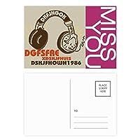茶色のヘッドセットのロック・ミュージック・クレイジー ポストカードセットサンクスカード郵送側20個ミス