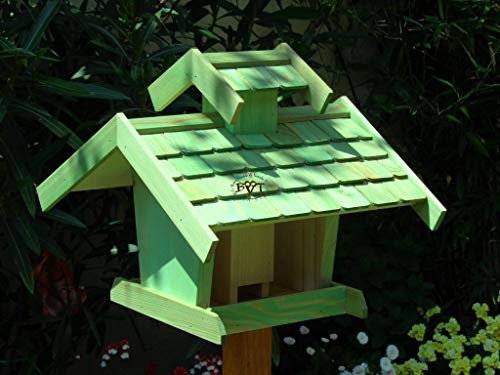 Vogelhaus+Ständer-Futterhaus-K-BEL-VOVIL4-MS-moos002 Großes PREMIUM-Qualität,Vogelhaus,KOMPLETT mit Ständer wetterfest lasiert, WETTERFEST, QUALITÄTS-Standfuß-aus 100% Vollholz, Holz Futterhaus für Vögel, MIT FUTTERSCHACHT Futtervorrat, Vogelfutter-Station Farbe grün moosgrün lindgrün natur/grün, Ausführung Naturholz MIT TIEFEM WETTERSCHUTZ-DACH für trockenes Futter - 3