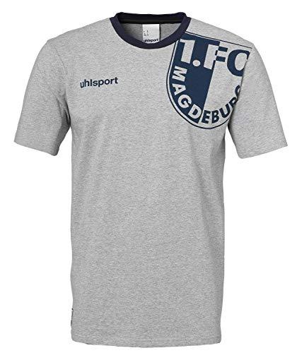 uhlsport Herren FCM T-Shirt Freizeit 19/20, grau Melange/Marine, 3XL