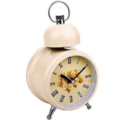 Clopkg 3 Duim Single Bell Round Creative Mute Leuke wekker, No Ticking, Loud Double Bell wekker batterij aangedreven Snooze en lichtfunctie, eenvoudig in te stellen (zwart, beige) (Color : Beige)