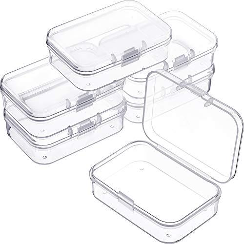 6 Pièces Mini Boîtes de Conteneurs de Stockage de Perles en Plastique Transparent pour Collecte de Petits Objets, Perles, Bijoux, Cartes de Visite, Artisanat (2.52 x 1.73 x 0.79 Pouces)