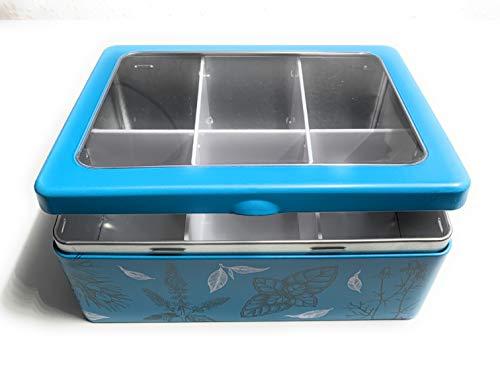 Perfekto24 Aufbewahrungs- Metalldose - Teedose 'Blue Flower' mit Deckel, Metall Dose 20,3 x 15,7 x 8 cm groß, eckig, leer, blau, Aufbewahrungsbox, Blechdose, Teebeutelbox