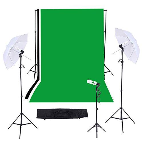 Andoer Ombrello Illuminazione Kit per Video Studio Fotografia, include: Nero Bianco Verde 3,6x3 m Fondali Muslins, (3)200cm Light Stand, (2)83cm Ombrelli, (3)45W Lampadine, (3) Attacco E27 Girevol