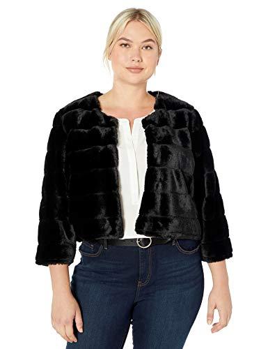 Calvin Klein Women's Plus Size Solid Faux Fur Shrug, Black, 1X