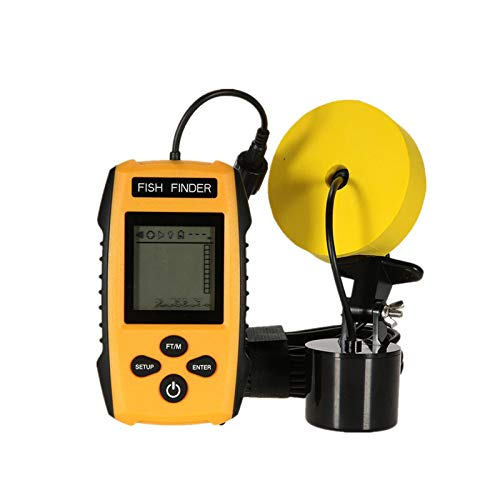 LSGMC Portable Fish Finder Wired Handheld Sonar Fishfinder LCD Display with Water Depth, Fish Location, Fish Size, Weeds and Rock for Kayak Boat Ice Fishing