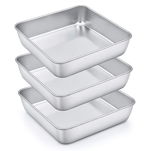 Homikit Quadratische Kuchenform, 3 Stück Edelstahl eckige Brownie Auflaufform Backform Set, 20 x 20 x 5 cm, Perfekt für Kuchen / Brownie / Lasagne, gesund & ungiftig, spülmaschinengeeignet