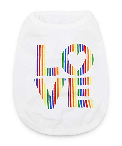 DroolingDog Dog Rainbow Clothes Love Shirts Puppy T Shirt for Small Dogs White Large