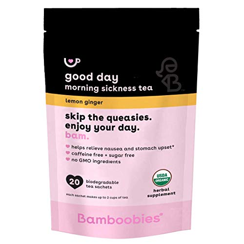 Bamboobies Women's Morning Sickness Relief Tea, Lemon Ginger, Supplement Packets for Nausea and Upset Stomach, 20 Tea Bags