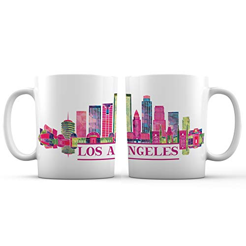 Los Angeles, CA Iconic Skyline City View Ceramic Coffee Mug - 11 oz. - Avanos 'Artsy Cities' Series Souvenir Tea Cups and Novelty Gifts for Women, Men, Friends and Family