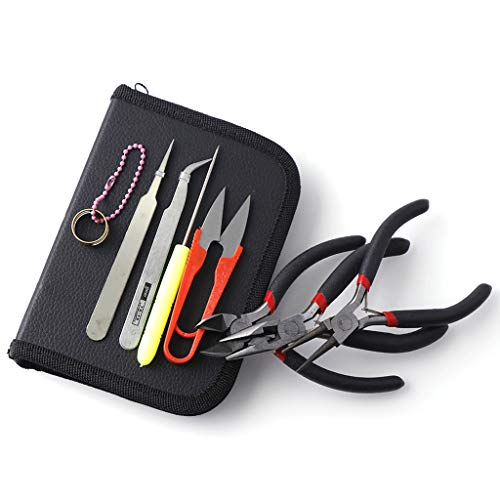 Xiuinserty 8 Pcs Jewelry Making Tool Kits Jewellery Pliers Set Round Nose Plier Side Cutting Pliers with Carrying Case