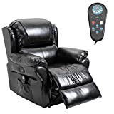 HOMCOM Power Massage Recliner Chair with Heat and Remote Control, 8 Massaging Points, PU Leather - Black