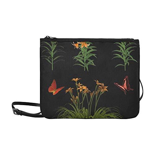 Fashion Workout Taschen Blumen isoliert Schmetterling Pflanze Tiger Lily verstellbarer Schultergurt Große Clutch Tasche für Frauen Mädchen Damen Handtaschen Mittlere Clutch Umhängetasche