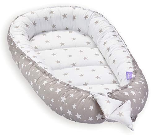 Solvera_Ltd Babynest 2seitig Kokon öko Babybett Nestchen für Neugeborene 100% Baumwolle Kuschelnest Weiches und sicheres Baby-Reisebett (50x90) (Grey Stars)
