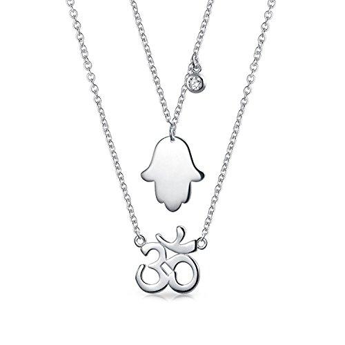 Hamsa Hand Gottes Aum Om Ohm Sanskrit Zeichen Yoga 2 Layering Kette Mit Anhänger Für Damen Graduation Sterling Silber