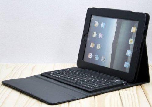 【PCATEC】 iPad 2/3/4 専用 レザーケース付き Bluetooth キーボード☆スタンド機能付き 手帳型 PUレザーケース付き 電池内蔵 持ち運び便利 無線キーボード (ブラック)