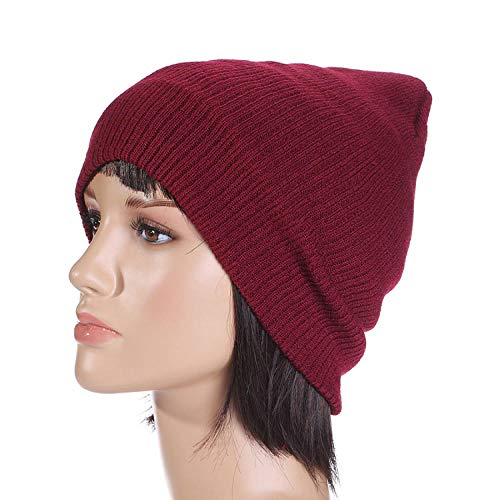 Zamoufm Otoño Invierno Mujer cálidos Sombreros Casuales Hip Hop Gorros Hombre Sombrero Sombreros de Punto de Gorro Crochet Ski Cap -Wine_redGorra de cráneo