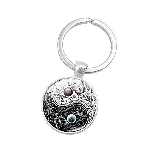 Llavero ZIYUYANG.Yin y Yang llavero de piedras preciosas colgante de cristal con huella de perro 7