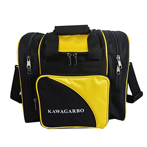 KAWAGARBO Bowling Bag for Single Ball - Single Ball Tote Bag with Padded Ball Holder - Fits a Single Pair of Bowling Shoes Up to Mens Size 15 (Black/Yellow)