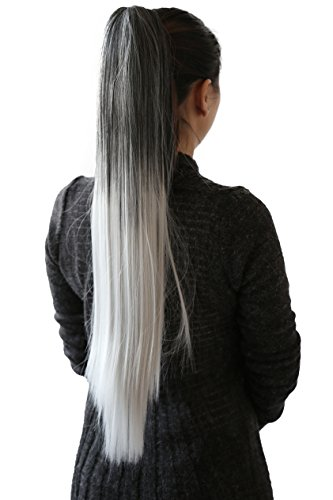 PRETTYSHOP 70cm Haarteil Zopf Pferdeschwanz Haarverlängerung Glatt Ombré Grau Mix H116