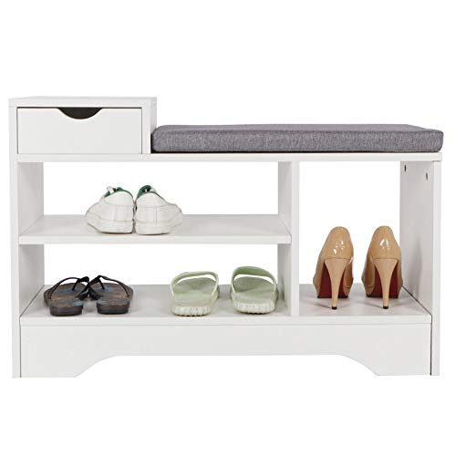 Zerone Banco de Zapatos Estilo Moderno, Zapatero con Asiento y Cojin para Sala de Estar Pasillo, Blanco 80 x 30 x 52 cm