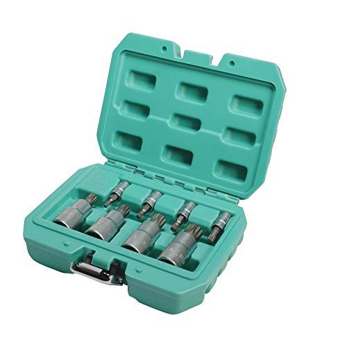 Juego de insertos XZN 8 piezas 1/2 y 1/4 de pulgada de acero Q-50 de WIESEMANN 1893 I Puntas en tamaños M4 - M 16 I En la práctica caja de transporte I 81475