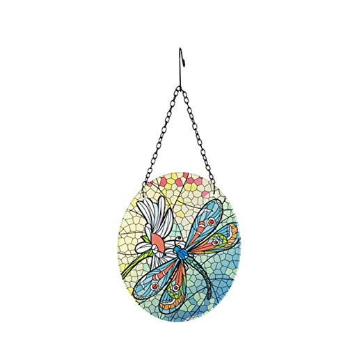Jishu Dragonfly-Pattern Glass Hanging Decoration with Hook Colorful Mosaic Suncatcher Ornament Gift for Window Door Garden