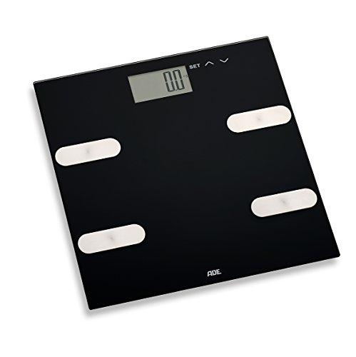 ADE BA 1703 Marleen Körperfettwaage (Digitale Körperanalysewaage zur Analyse von Gewicht, Körperfett, Körperwaaser und Muskelmasse, bis 180 kg) schwarz