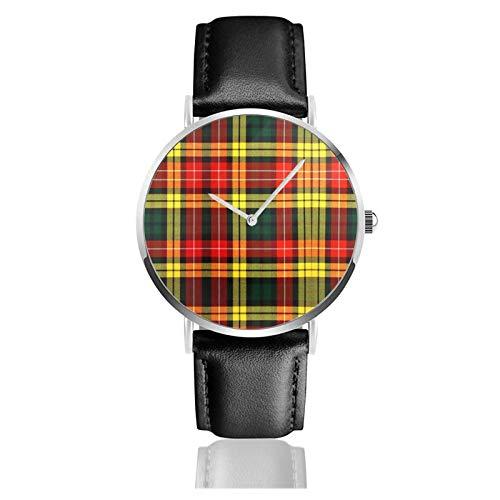 Reloj de cuero Buchanan Tartan Unisex Clásico Casual Moda Reloj de Cuarzo Reloj de Acero Inoxidable con Correa de Cuero