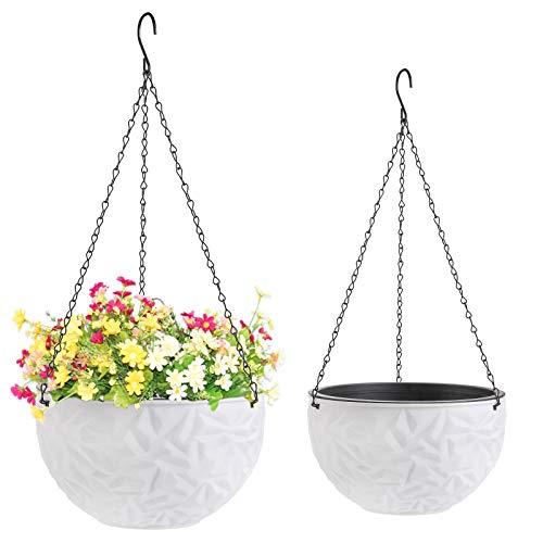 Foraineam 2-Pack Dual-pots Design Hanging Basket Planters Self-Watering Indoor...