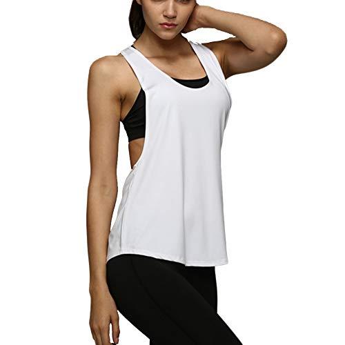 Camiseta Tirantes sin Mangas de Deporte para Mujer Verano, Tank Top Clásico Chaleco para Fitness Gimnasio Yoga Colores Opcionales Camiseta de Pijama Dormir (L, Blanco)