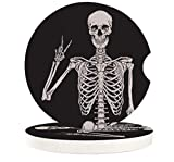 """Small Car Coasters for Cup Holders 2.65"""" Absorbent 2 Pack Car Coasters Neoprene for Drinks Absorb Water Drops Funny Human Skull Skeleton Set of 2"""